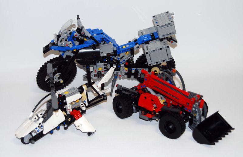 Motorrad, Hubschrauber und Hubwagen ergeben genug Material für das neue Chassis